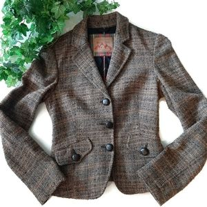 Benetton town and country brown tweed blazer